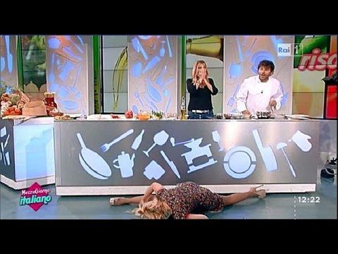 lisa fusco cade in diretta a mezzogiorno italiano!