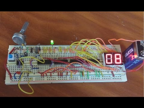 2 Digit 7 Segment LED Counter from 0 to 99 Circuit (4029, 4543)