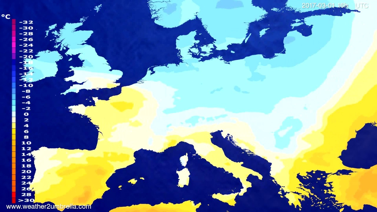 Temperature forecast Europe 2017-02-26