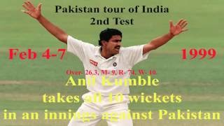 Anil Kumble takes all 10 Wickets in an Innings against Pakistan- Pakistan tour of India, 2nd Test: India v Pakistan at Delhi, Feb 4-7, 1999.