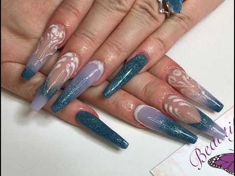 Acrylic Nails - cinderella/frozen style - sculptured - tapered square
