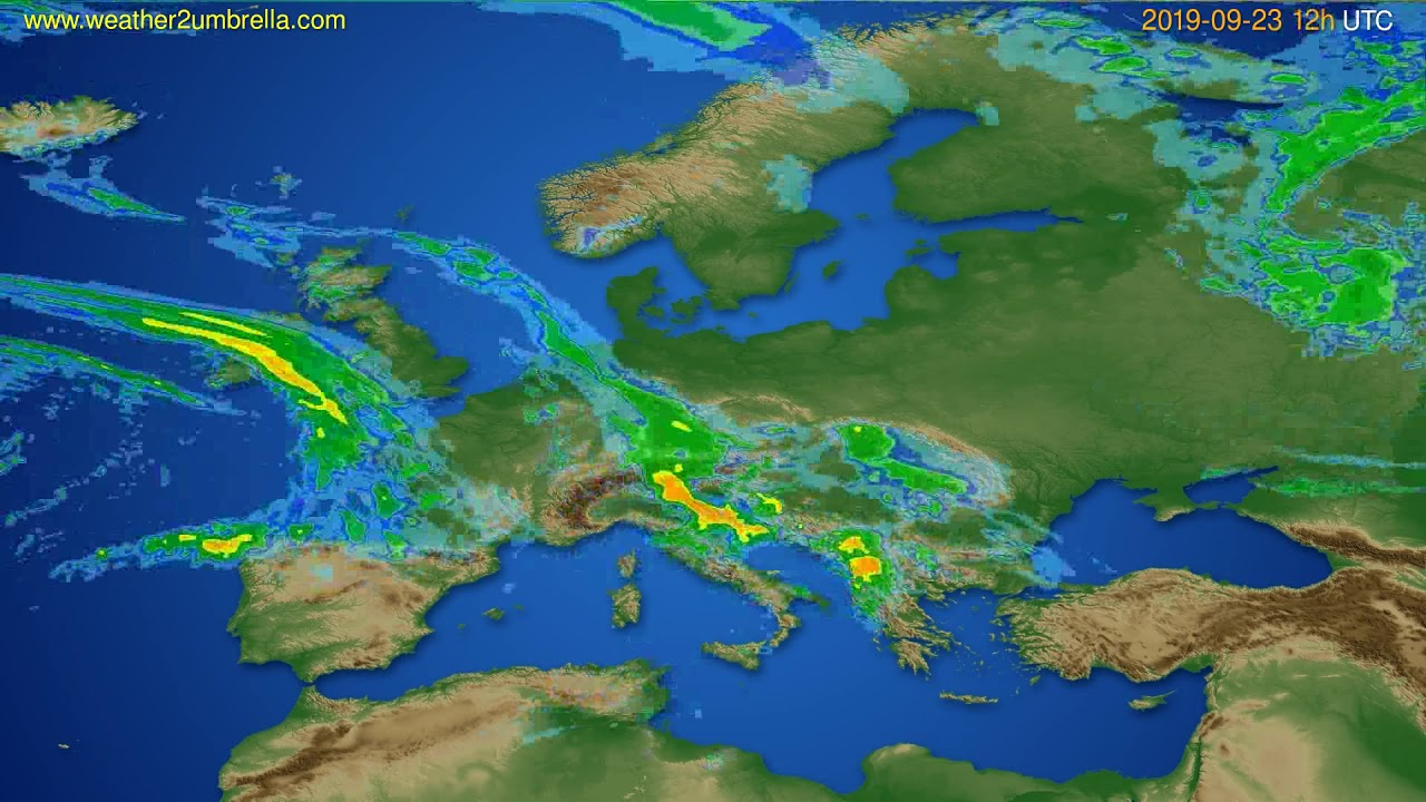Radar forecast Europe // modelrun: 00h UTC 2019-09-23