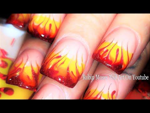 Nail art designs - Nails On Fire! Traditonal Drag Marble Flames Nail Art Design Tutorial