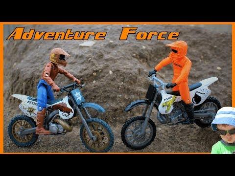 Pretend Play & Unboxing Adventure Force Dirt Bikes Kids Videos Outdoor Imagination Motocross Toys