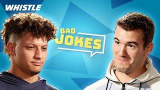 Football Players Tell BAD Jokes!   ft. Patrick Mahomes & Mitch Trubisky