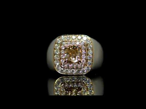 Men's 14k White/Yellow Gold 1.02ct Fancy Dark Orangy Brown Diamond Ring