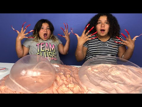 DON'T MAKE SLIME WITH SUPER LONG ACRYLIC NAILS SLIME CHALLENGE