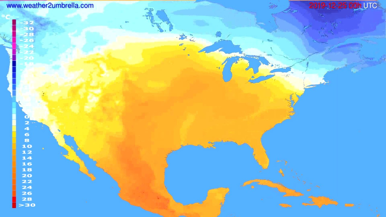 Temperature forecast USA & Canada // modelrun: 00h UTC 2019-12-24