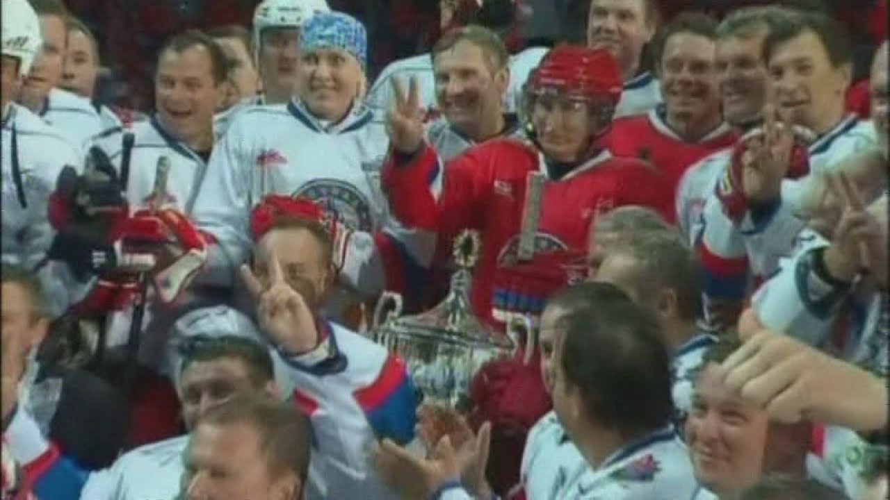 Russian President Vladimir Putin plays in an ice hockey game in Sochi