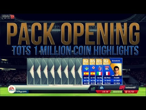 FIFA 13 UT | TOTS Pack Opening | 1 Million Coin Highlights ft 4x TOTS!!!