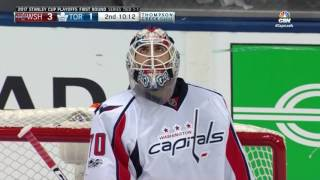 Braden Holtby left the comfort zone of his crease to make an incredible sprawling save to deny a breakaway attempt.