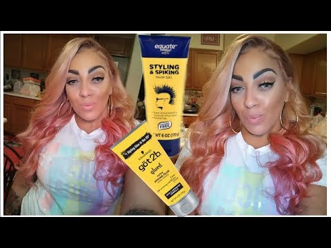 TRYING WAL-MART EQUATE BRAND DUPE of Got2b GEL TO APPLY WIG⎮DETAILED DIY PINK LACE WIG alipearl