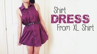 DIY ✂ Shirt Dress from Men's Shirt (Easy Reconstruction) - YouTube