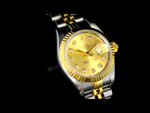 Lady's Stainless Steel/18k Yellow Gold Rolex Datejust Automatic Wristwatch with Diamonds