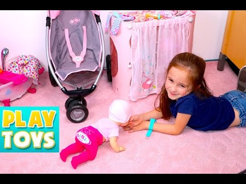 Baby Annabelle Doll walk, talk, giggle - baby doll bathtime & stroller playing kids with toys video