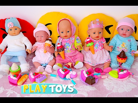 Baby Dolls eat Ice Cream & Velcro cutting cake toys