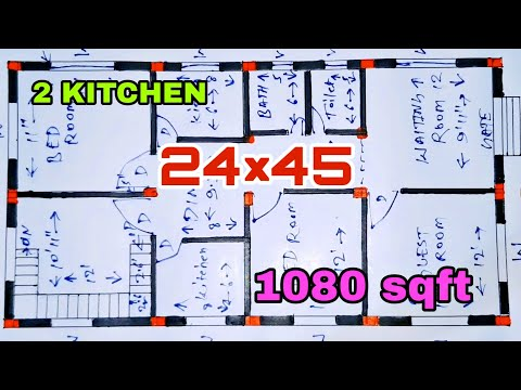 24 by 45 house plan | 1080 sqft HOME DESIGN | 24×45 का नक्शा | 24×45 sqft Ghar Ka naksha |