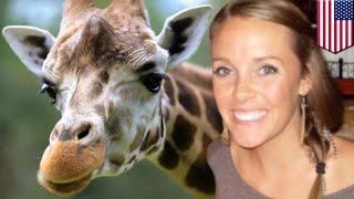 Giraffe kicks woman: Amanda Hall climbed over fence at Henry Vilas Zoo in Madison - YouTube