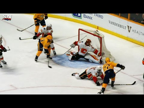 Video: Flames' Rittich makes game-saver on Predators' Fiala