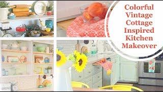 Colorful Kitchen- Cottage/Vintage Inspired Makeover2017