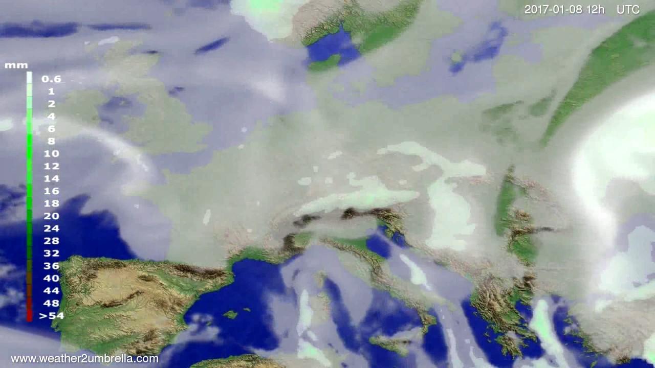 Precipitation forecast Europe 2017-01-04