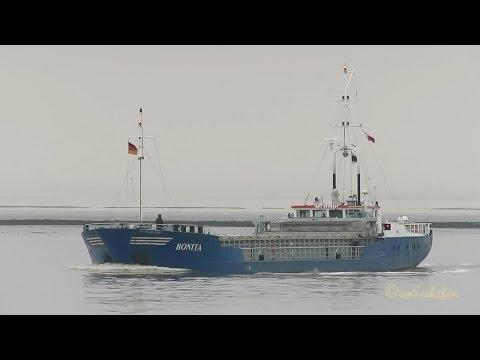 coaster BONITA ex EST YLBA IMO 8609931 inbound Emden cargo seaship merchant vessel KüMo