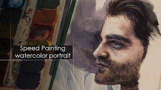 Скоростное рисование портрета мужчины, как рисовать портрет акварелью в профиль - Full HD
