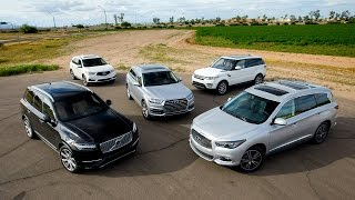For this comparison we gathered a range of 3-row luxury players like the Infiniti QX60, Volvo XC90, Range Rover Sport, Audi Q7, and Acura MDX. For the complete story, please visit:*Our comparison tests are different from most in that we keep the focus on comparison, not competition. We don't pick winners and losers because the right choice for one buyer is the wrong choice for another. Our goal here is not to tell you which car to buy, but to make it easier for you to decide which is best for you.Kelley Blue Book is your source for new car reviews, features, auto show coverage, and comparison tests. Subscribe to catch all the latest Kelley Blue Book videos. http://www.youtube.com/subscription_center?add_user=kbb