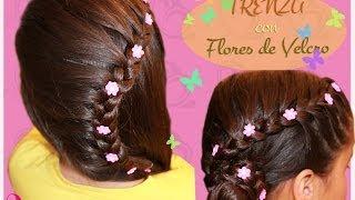Peinado para fiesta - Trenza y flores de lado. Peinado infan