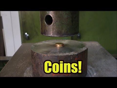 他們嘗試用液壓機壓下40枚硬幣,2:27這畫面已經不能更紓壓