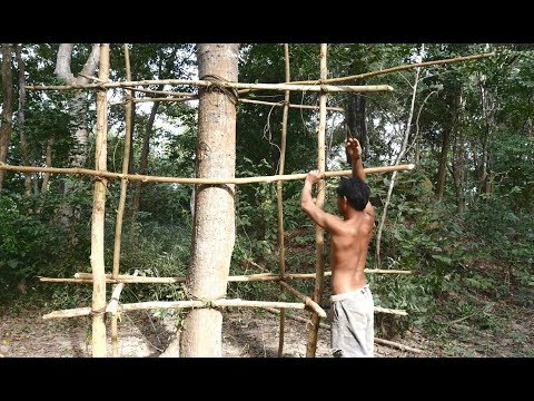 Primitive Technology, build tree house in forest, Part 01- shelf