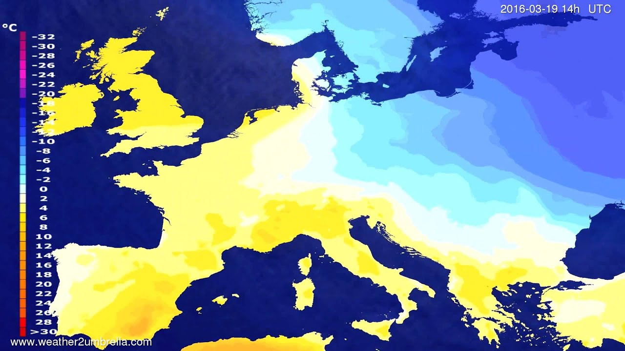 Temperature forecast Europe 2016-03-15