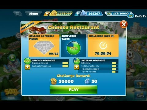 Cooking Fever Challenge In Chinese Restaurant Part 1 | Level 1, 2, 3 Cooking Challenge GamePlay