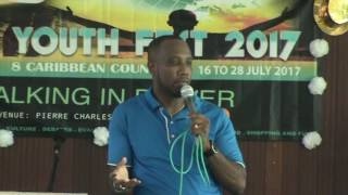 Pastor Kevin Hunte at the first session of Youth Fest 2017.