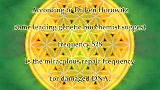 528 Hz, the frequency for transformation and DNA repair. http://www.unisonicascension.com/solfeggio/ There is a special sound ...
