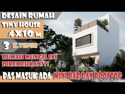 Desain rumah 4x10 m 3 kamar tidur fasilitas mini bar dan rooftop