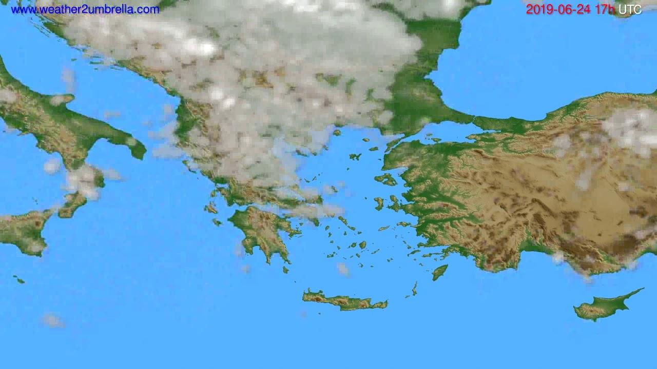Cloud forecast Greece // modelrun: 00h UTC 2019-06-23