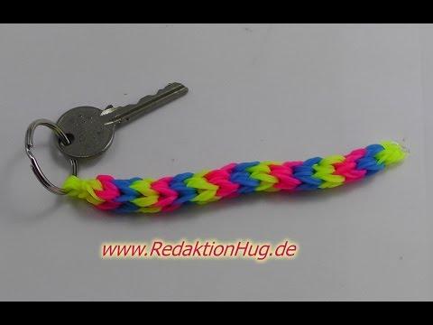 Loom Bands mit Rainbow Loom Schlüsselanhänger Anleitung Deutsch