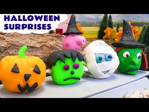 Peppa Pig Halloween Play Doh Surprise Toys Thomas and Friends Cars 2 Disney Princess Hello Kitty