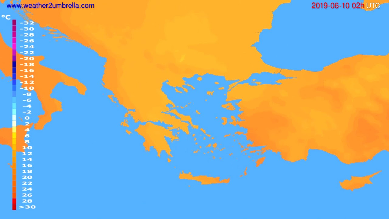 Temperature forecast Greece // modelrun: 12h UTC 2019-06-07