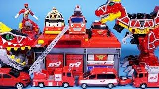 타요 와 [월드카 파워키] 파워레인저 다이노포스 로보카폴리 또봇 헬로카봇 [월드카 파워키 소방본부 오픈박스] Fire station car toys Robocar Poli Tayo