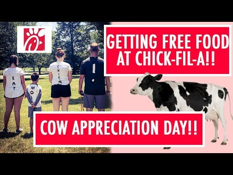 Cow Appreciation Day at Chick-fil-A | Dressing Like Cows For FREE FOOD!!