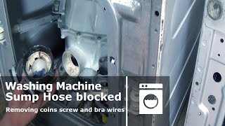 http://www.how-to-repair.com/help/how-to-remove-a-sump-hose-and-filter-to-clear-blockages/We have made 3 videos on clearing blockages in washing machines, this one will show you how to clear the sump hose and filter, the other videos below will show you how to clear a pump and also how to remove foreign objects from within the drum.