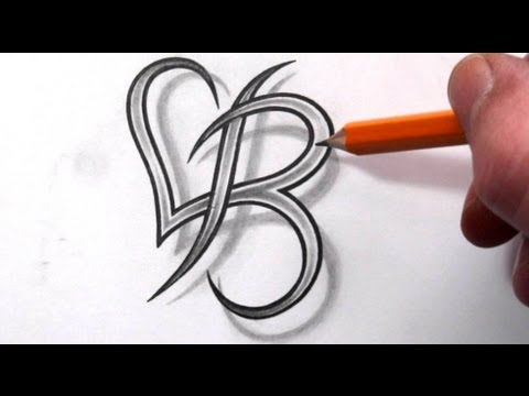 Initial B and Heart Combined Together - Celtic Weave Style - Letter Tattoo Design