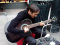 The healthy but sick street guitar player