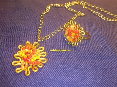 DIY.Colgante collar de alambre ( naranja ).Necklace