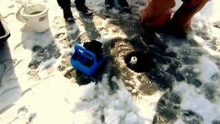 ICE FISHING 2016 AT FROZEN BONAFIDE LAKE FAIRFIELD IOWA