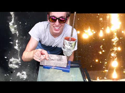 Pouring Seven Different Molten Metals into Water