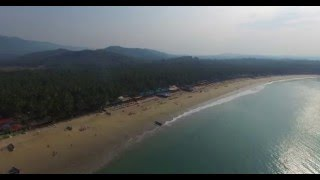 palolem beach, Goa an aerial view 4K.
