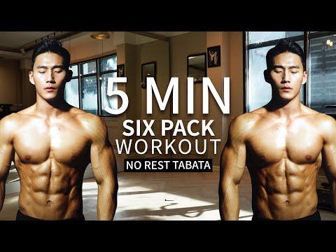 6 PACK ABS WORKOUT (Lose Belly Fat)  |  5분 식스팩 복근 운동 (복부지방 태우기)